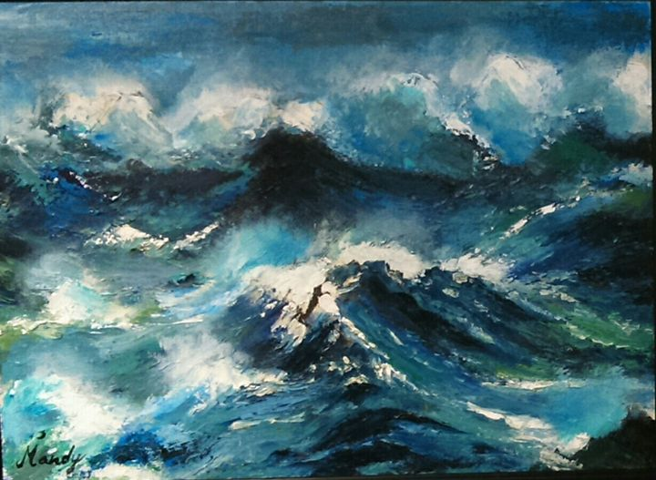 Waves and rocks - Mandira's Art