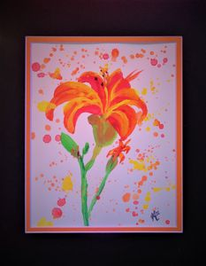 Lovely Lilly Original Acrylic/Waterc