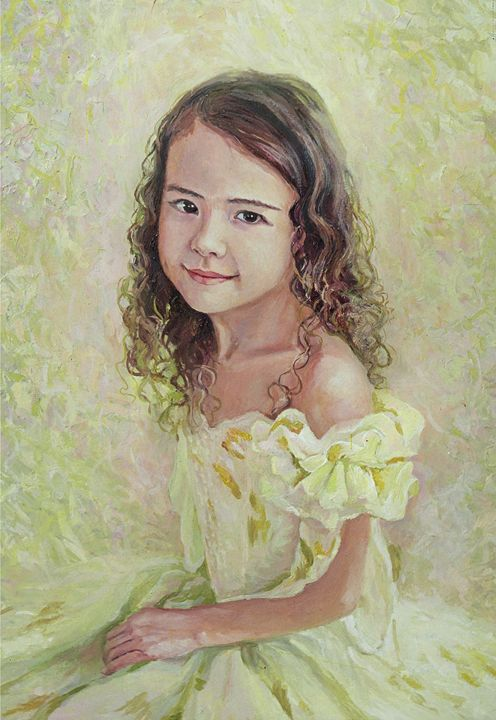 girl in light green dress with lace - PashaTP