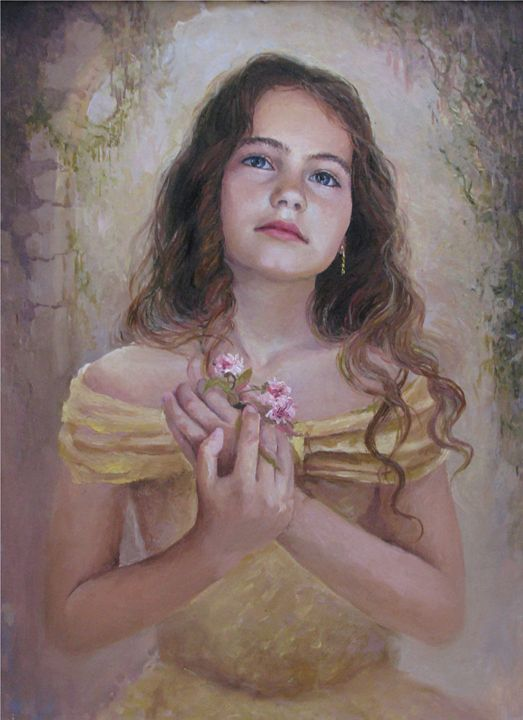 girl in a golden dress with a flower - PashaTP