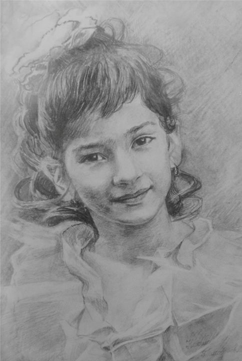 young girl with curly hair - PashaTP
