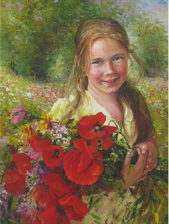 girl in yellow dress with poppies - PashaTP