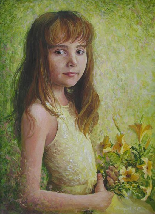 girl in a yellow dress with a lily - PashaTP