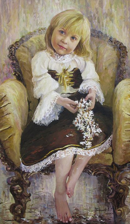 young girl in a chair with flowers - PashaTP