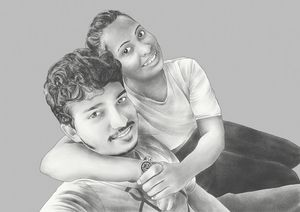 Pencil Styled Portrait of a Couple