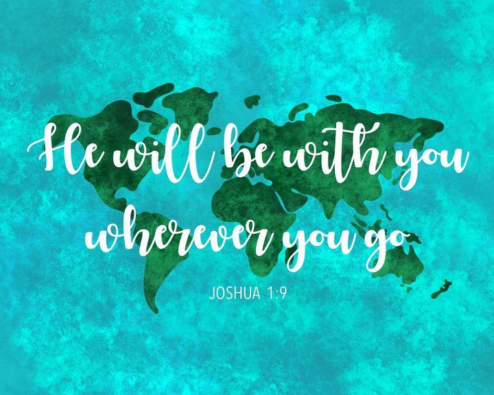World Map Joshua 1:9 Bible Verse - ArtByGillyReich
