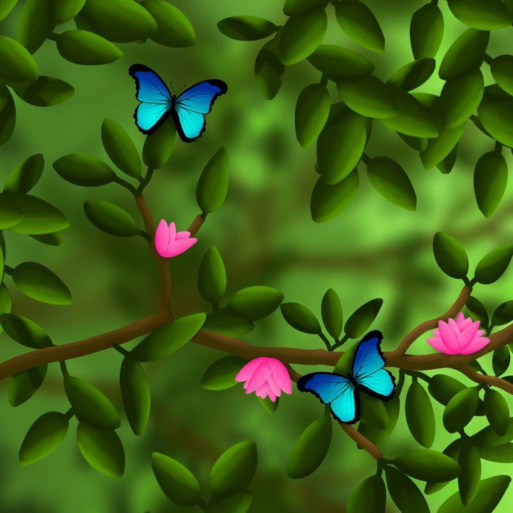 Blue Butterflies - ArtByGillyReich