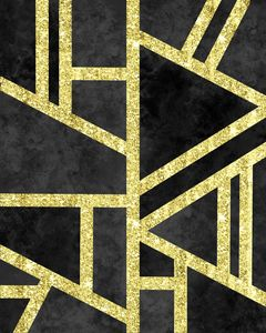 Geometric Gold Glitter Marble Black