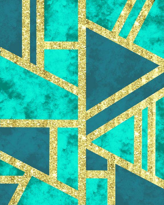 Geometric Gold Glitter Marble Teal - ArtByGillyReich
