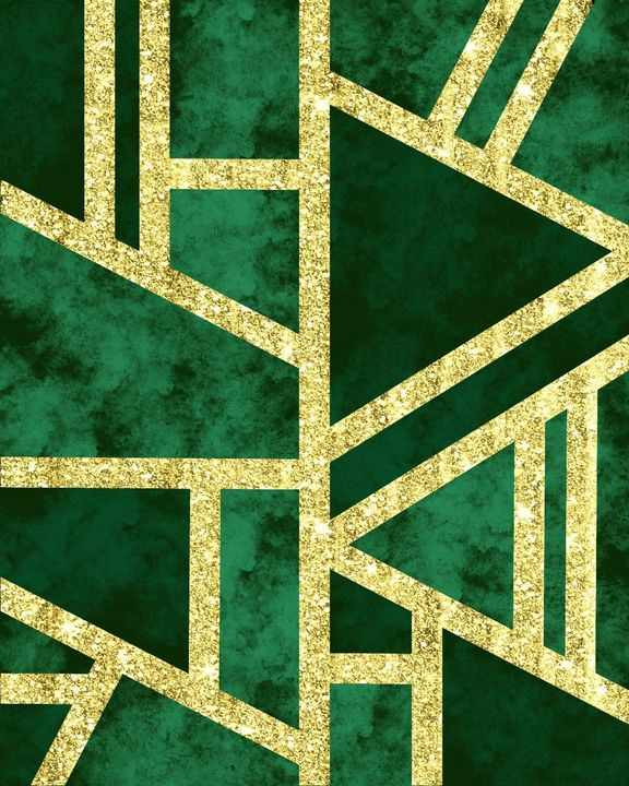 Geometric Gold Glitter Marble Green - ArtByGillyReich