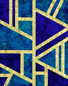 Geometric Gold Glitter Marble Blue