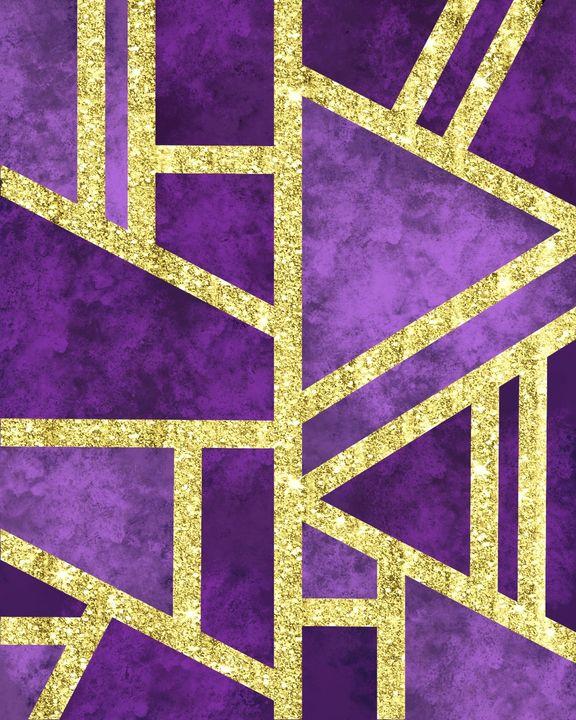Geometric Gold Glitter Marble Purple - ArtByGillyReich