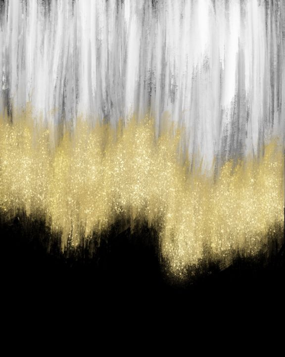 Black, White and Gold Glitter - ArtByGillyReich