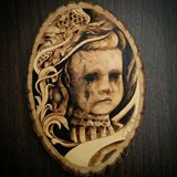 Original Wood Burned Doll Portrait