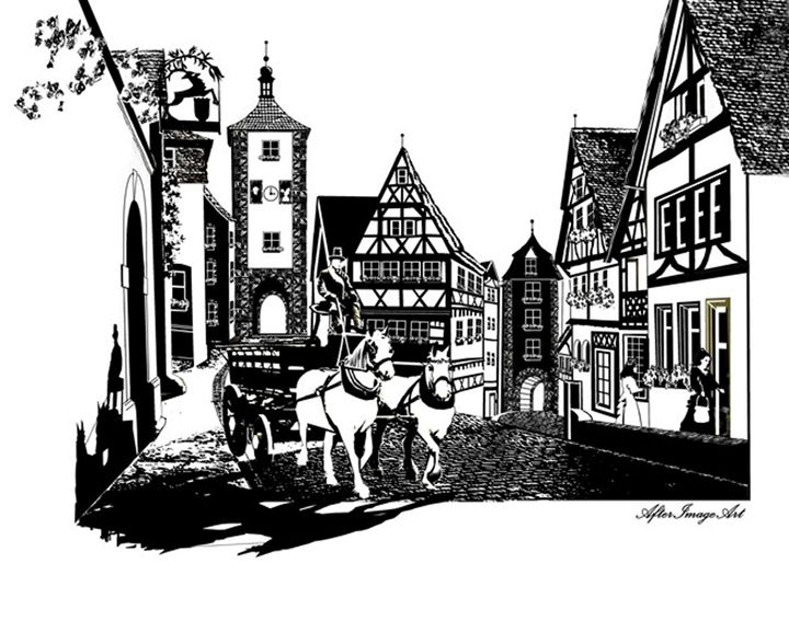 Old Rothenburg Pen & Ink - AfterImageArt