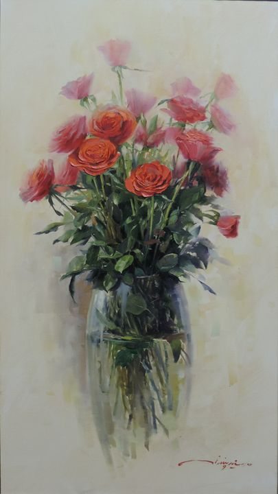 Roses in Glass Vase - Rozller