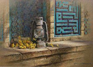 Lantern and Yellow Flowers
