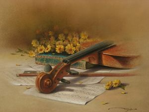 Violin and Yellow Flowers