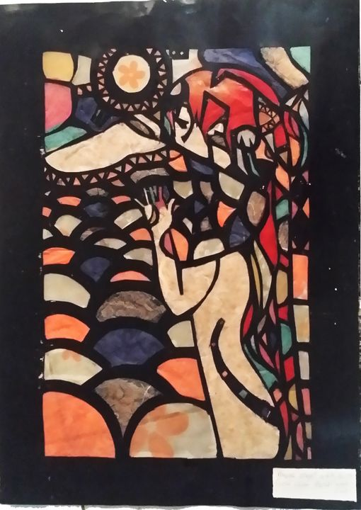 Tissue Paper Stained Glass The Hug - FahysGallery