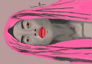 Pink Hooded Woman