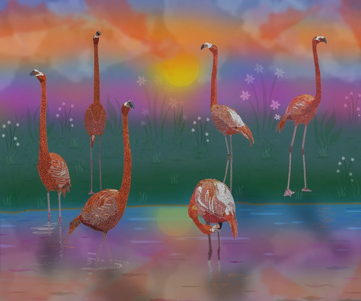 Flamingos Sunset - Mannz Gallery