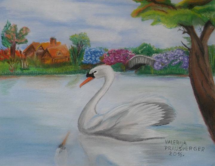 Swan on magical lake - Prausperger Gallery