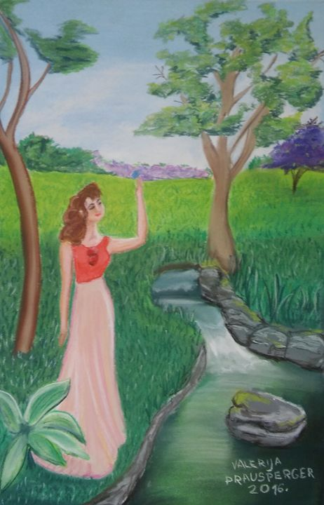 Lady waiting by the creek - Prausperger Gallery
