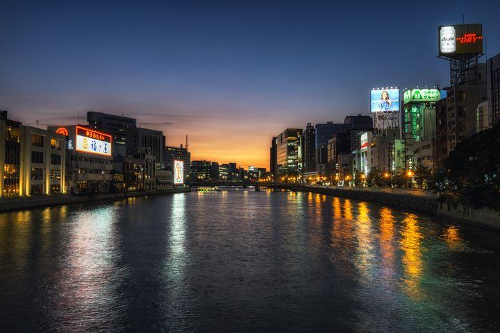 fukuoka naka river sunset view - Aaron Choi Photography