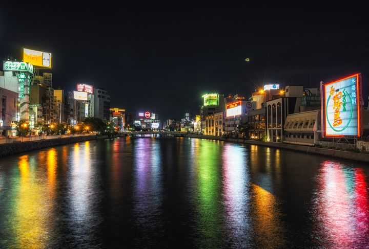 fukuoka naka river at night - Aaron Choi Photography