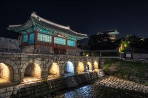 hwahongmun gate at night