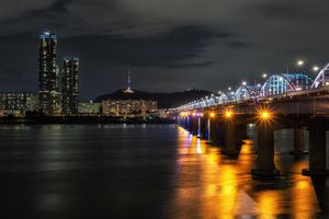 Han river and Namsan tower at night