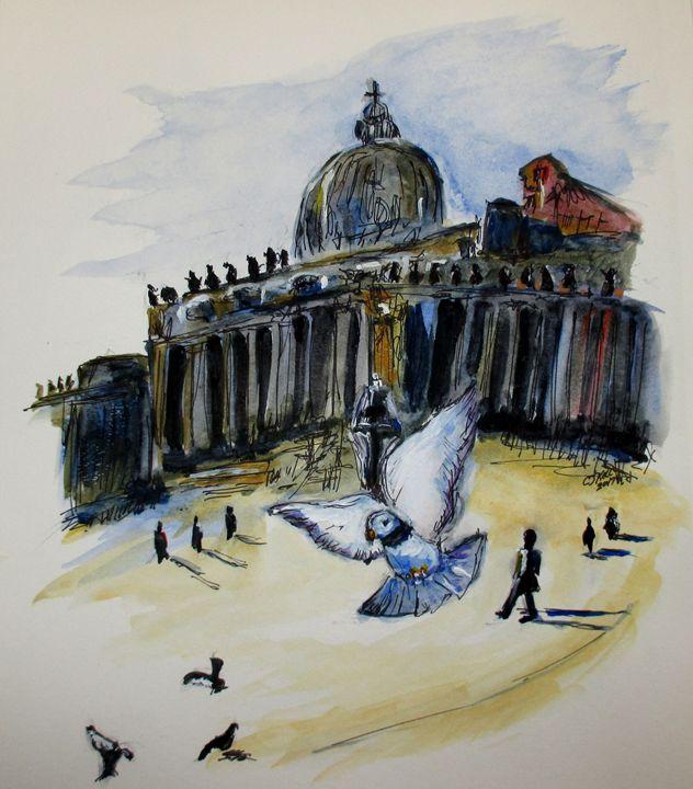 """Holy Pigeons"" Rome, Italy - CJ Kell Art Work"