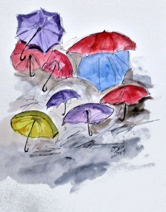 Free Umbrellas - CJ Kell Art Work