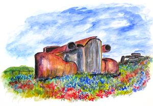 Wild Flower Junk Car - CJ Kell Art Work