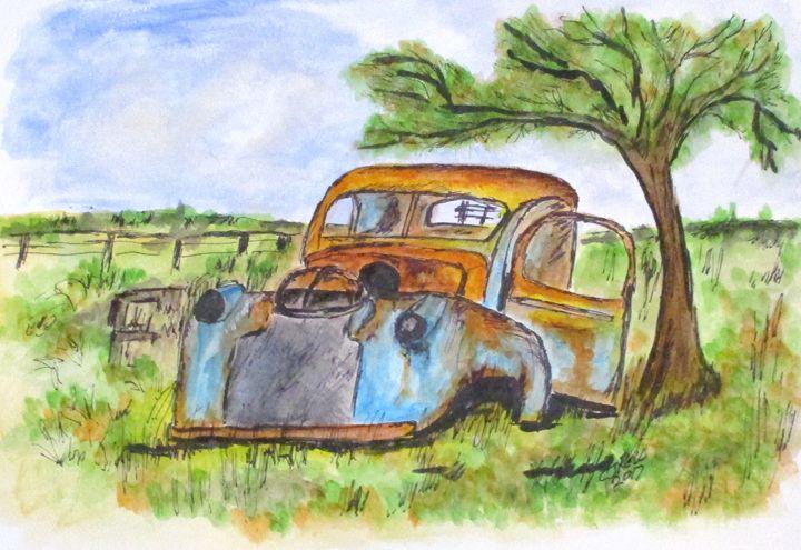 Junk Car And Tree - CJ Kell Art Work