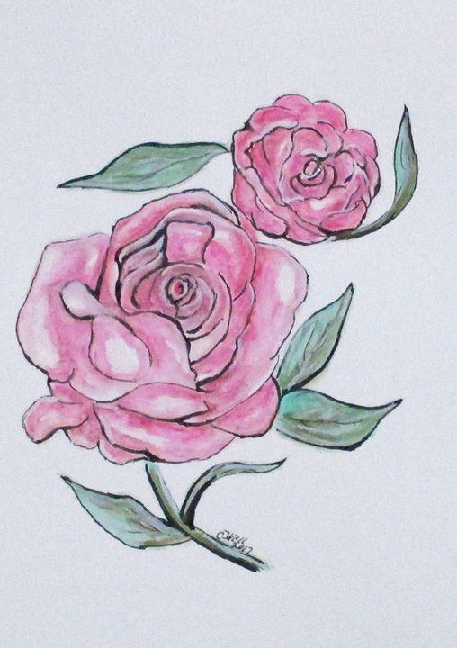 Pretty And Pink Roses - CJ Kell Art Work