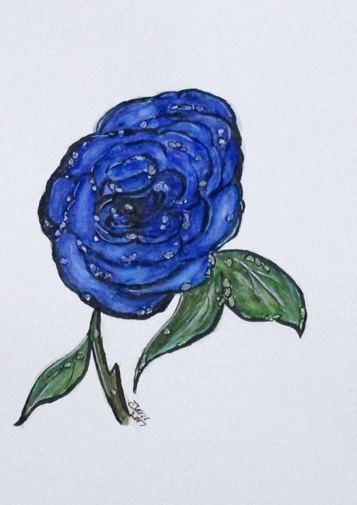 Blue And Wet, Rose - CJ Kell Art Work