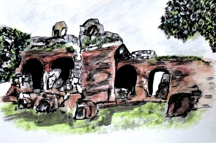Flavian Amphitheater Pozzuoli Italy - CJ Kell Art Work
