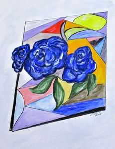 Whimsical Blue Roses