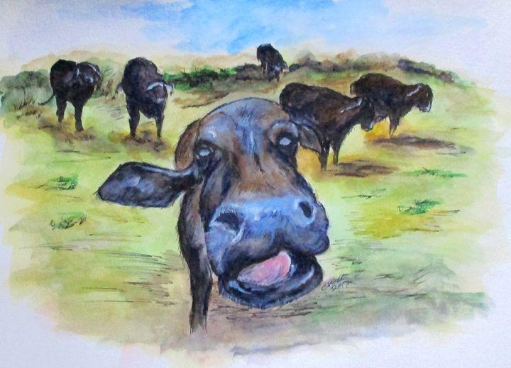Water Buffalo Kiss - CJ Kell Art Work