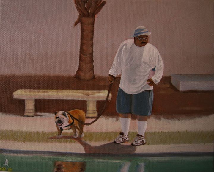 Man with Dog 1 - Glad's Art Gallery