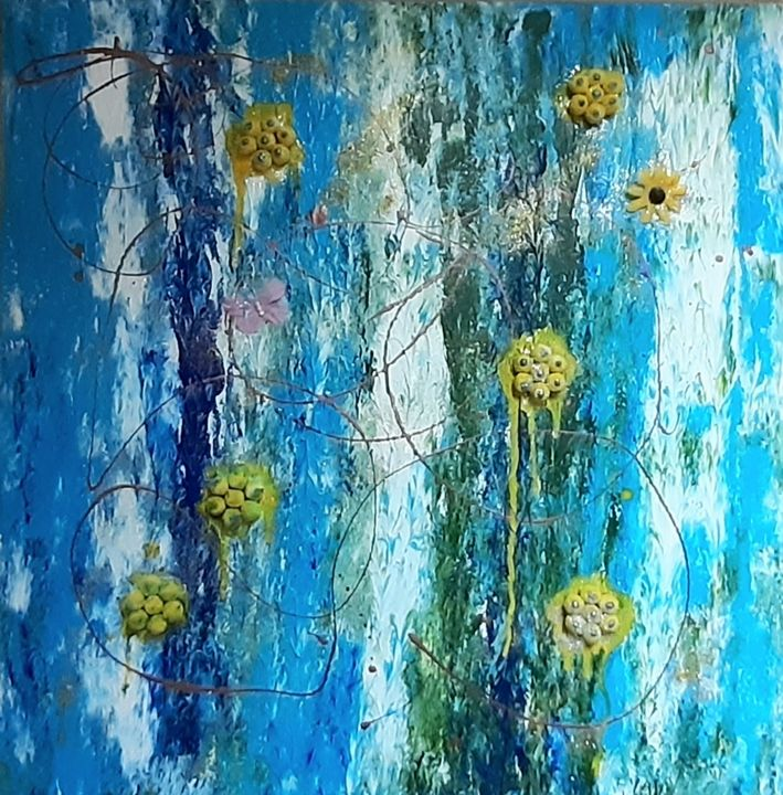 Flowers on blue in abstract - Lauraartist68