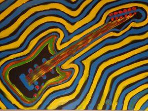 Psychedelic Guitar Finger Painted - MKinnamanArt