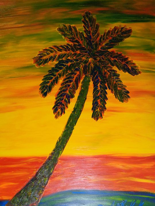 Color Palm Finger Painted MKART - MKinnamanArt