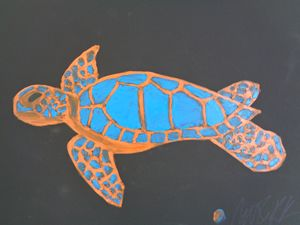 Majestic Sea Turtle Finger Painting