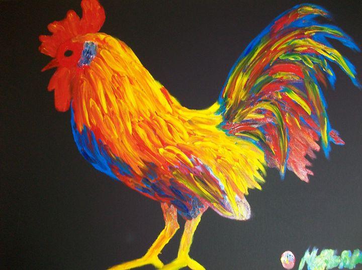 Colorster Rooster Finger Painted MK - MKinnamanArt