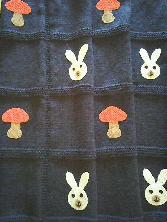 Knitted Dark Blue Baby Blanket - Eliza