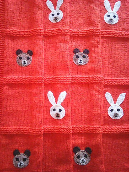Knitted Orange Baby Blanket - Eliza