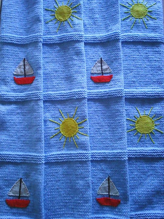 Knitted Blue Baby Blanket - Eliza