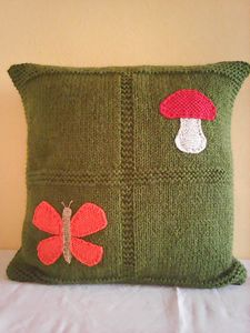 Knitted Dark Green Pillow With Mushr